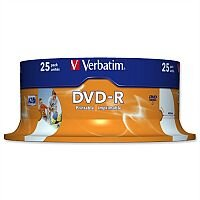 Verbatim DVD-R Recordable Disk Write-once Inkjet Printable Spindle Pack 25