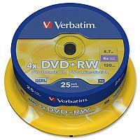 Verbatim DVD+RW Rewritable Disk Cased 1x-4x Speed 120min 4.7Gb 43489 Pack 25