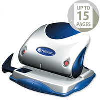 Rexel P215 2 Hole Punch Silver and Blue with Nameplate 15 Sheet Capacity