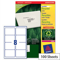 Avery LR7165-100 Labels Laser 8 per Sheet Recycled 99.1 x 67.7mm 800 Labels