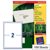 Avery LR7168-100 Laser Labels 2 per Sheet Recycled 199.6 x 143.5mm 200 Labels
