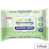 Germisept Multipurpose 75% Alcohol Wipes 50 Wipes Per Pack (12 Pack)
