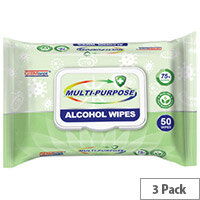 Germisept Multipurpose 75% Alcohol Wipes 50 Wipes Per Pack (3 Pack)