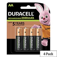 Duracell Stay Charged Battery Long-life Rechargeable 2500mAh AA Size 1.2V Pack 4