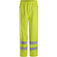 Snickers 8267 ProtecWork Rain Trousers PU High-Vis Class 2 High Visibility Yellow - Size: XS