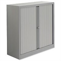 Bisley Euro Tambour for A4 W1000xD430xH1030mm 2 Shelves Silver ET410/10/2SS