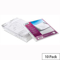 Elba Expanding Plastic Punched Pocket A4 Clear 120 Micron Pack 10