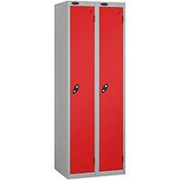Probe 1 Door Locker ACTIVECOAT W305xD305xH1780mm Nest of 2 Silver Body & Red Doors By Lion Steel