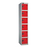 Probe 6 Door Locker ACTIVECOAT W305xD305xH1780mm Silver Body Red Doors