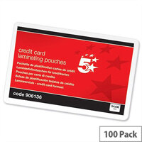 Laminating pouches huntoffice ireland 5 star credit card size laminating pouches glossy 250 micron pack 100 54mm x 86mm reheart Choice Image
