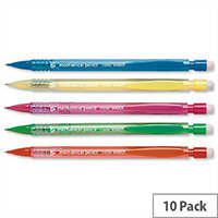 Disposable Mechanical Pencil Assorted Barrels Retractable 3 x 0.7mm Lead Pack 10 5 Star