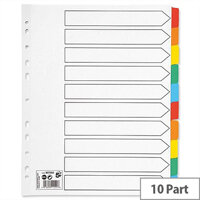 10 Part Extra Wide Index Dividers With Coloured Tabs A4 White 5 Star – Eco-Friendly, Wide Tabs, Multi-Punched, Mylar Reinforcement, Durable & Colour-Coded (907093)