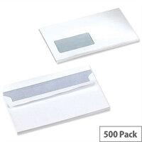 5 Star Office White DL Window Envelopes Self Seal Wallet 90gsm Pack 500