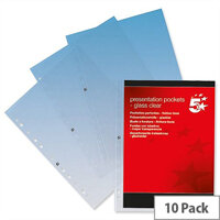 A4 Presentation Punched Pocket Polypropylene Top-opening 90 Micron Glass Clear Pack 10 5 Star Elite