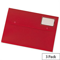 A4 Document Wallet Plastic Red Pack 3 5 Star