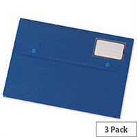 A4 Document Wallet Plastic Blue Pack 3 5 Star