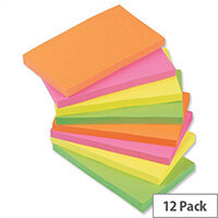 Sticky Notes Neon Pad of 100 Sheets 76x127mm Assorted Pack 12 5 Star