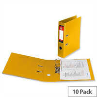 5 Star Office Lever Arch File Polypropylene Capacity 70mm Foolscap Yellow Pack of 10