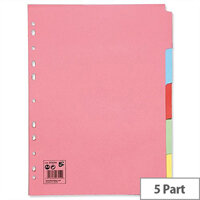 5 Part Subject Dividers Assorted A4 Pack 50 5 Star