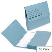 Document Wallet A4 Blue Half Flap 285gsm Pack 50 5 Star