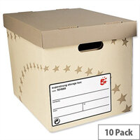 5 Star Archive Storage Box Foolscap Superstrong Sand 10 Pack
