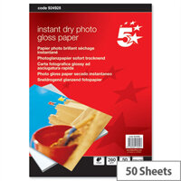 """5 Star 6x4"""" Glossy Inkjet Photo Paper 260gsm (Pack of 50)"""