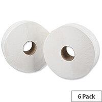 5 Star Jumbo Core 76mm Dispenser Toilet Paper Rolls Refills 2-ply 9x38cm 410m Pack 6