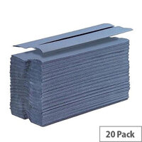 5 Star Hand Paper Towel C-Fold 1-ply Recycled Size 230x305mm 20 Sleeves x 144 Sheets per Sleeve Blue (2880 Sheets)