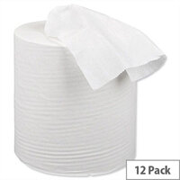 5 Star Centrefeed Paper Tissue Refill Rolls for Dispenser White 1-ply 120m (12 Rolls)