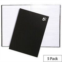 5 Star A4 Hard Cover Notebook Casebound Black Pack 5