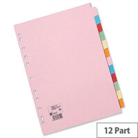 12 Part Assorted Subject Dividers A4 Pack 10 5 Star
