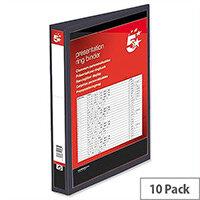 Black PVC 4 D Ring Presentation Ring Binder 25mm A4 Pack 10 5 Star