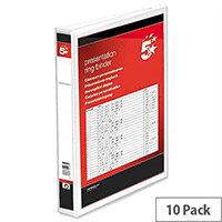 2 Ring Presentation Ring Binder PVC 25mm A4 White 36112 Pack 10 5 Star