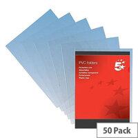 5 Star Folder PVC Cut Flush A4 Clear [Pack 50]