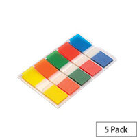 5 Star Index Flag 5 Bright Colours 12.5x50mm 5 Packs of 20 Flags [100 Flags]