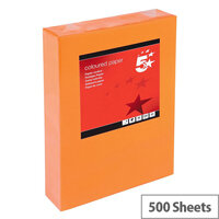 5 Star Deep Orange A4 Paper Multifunctional Ream-Wrapped 80gsm 500 Sheets