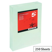 5 Star Light Green A4 Card Paper Multifunctional 160gsm Pack of 250 Sheets