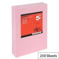 5 Star Light Pink A4 Card Paper Multifunctional 160gsm Pack of 250 Sheets