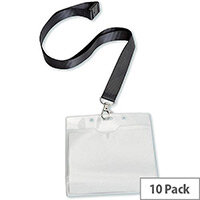 5 Star Office Name Badge Landscape with Safety-clip Lanyard 110x90mm  Pack 10