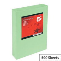 5 Star Office Bright Green A4 Paper Multifunctional Coloured Ream-Wrapped 80gsm 500 Sheets
