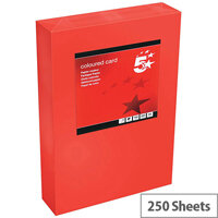 5 Star Office Deep Red A4 Paper Multifunctional Coloured Card 160gsm 250 sheets