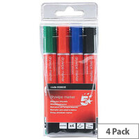 5 Star Office Drywipe Marker Xylene/Toluene-free Chisel Tip 2-5mm Line Assorted  Wallet 4