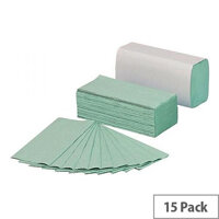 5 Star Hand Paper Towels Z-fold 250 Towels Per Sleeve 12 Sleeves (3000 Sheets) Green