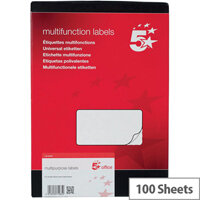5 Star Office Multipurpose Labels Laser Copier Inkjet 10 Per Sheet 99x57mm White 1000 Labels Pack of 100