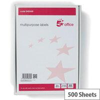 5 Star Office Multipurpose Labels Laser Copier Inkjet 14 Per Sheet 99x38mm White 7000 Labels Pack of 500