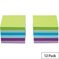 5 Star Office 76x76mm Re-move Sticky Notes 6 Neon/Pastel Colours 100 Sheets Per Pad Pack of 12 Pads