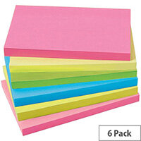 5 Star Office 76x127mm Extra Sticky Re-move Notes 4 Assorted Neon Colours Pad of 90 Sheets Pack of 6 Pads
