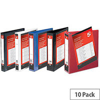 5 Star Office A4 Presentation Ring Binder Polypropylene 2 D-Ring 25mm Size Red Pack of 10