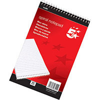 5 Star Office A5 Shorthand Pad Ruled 200 Pages White