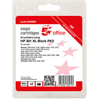 5 Star Office Remanufactured Inkjet Cartridge Page Life Black 480pp [HP No.301XL D8J45AE Alternative] Pack of 2